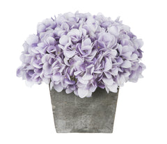 Artificial Hydrangea in Grey-Washed Wood Cube - House of Silk Flowers®  - 22
