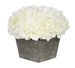 Artificial Hydrangea in Grey-Washed Wood Cube - House of Silk Flowers®  - 3