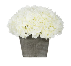 Artificial Hydrangea in Grey-Washed Wood Cube - House of Silk Flowers®  - 4