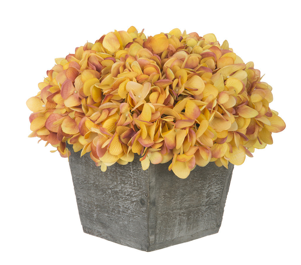 Artificial Hydrangea in Grey-Washed Wood Cube - House of Silk Flowers®  - 23