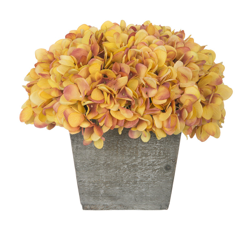 Artificial Hydrangea in Grey-Washed Wood Cube - House of Silk Flowers®  - 24