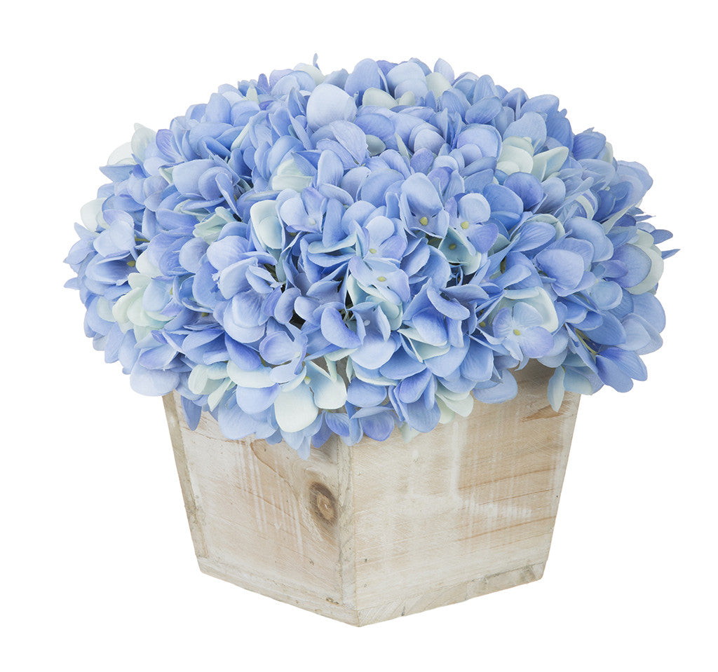 Artificial Hydrangea in White-Washed Wood Cube - House of Silk Flowers®  - 7