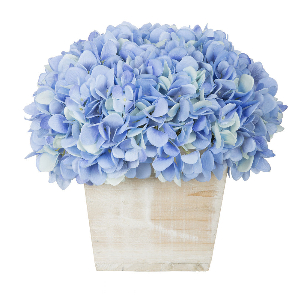 Artificial Hydrangea in White-Washed Wood Cube - House of Silk Flowers®  - 8