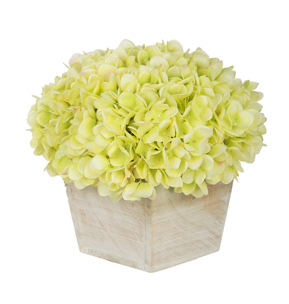 Artificial Hydrangea in White-Washed Wood Cube - House of Silk Flowers®  - 9
