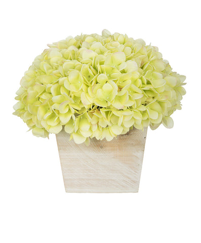 Artificial Hydrangea in White-Washed Wood Cube - House of Silk Flowers®  - 10