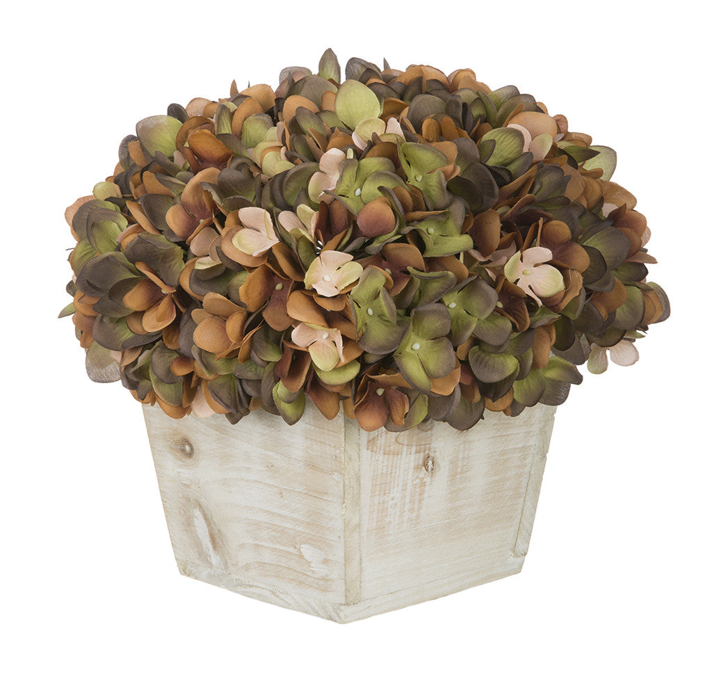 Artificial Hydrangea in White-Washed Wood Cube - House of Silk Flowers®  - 11