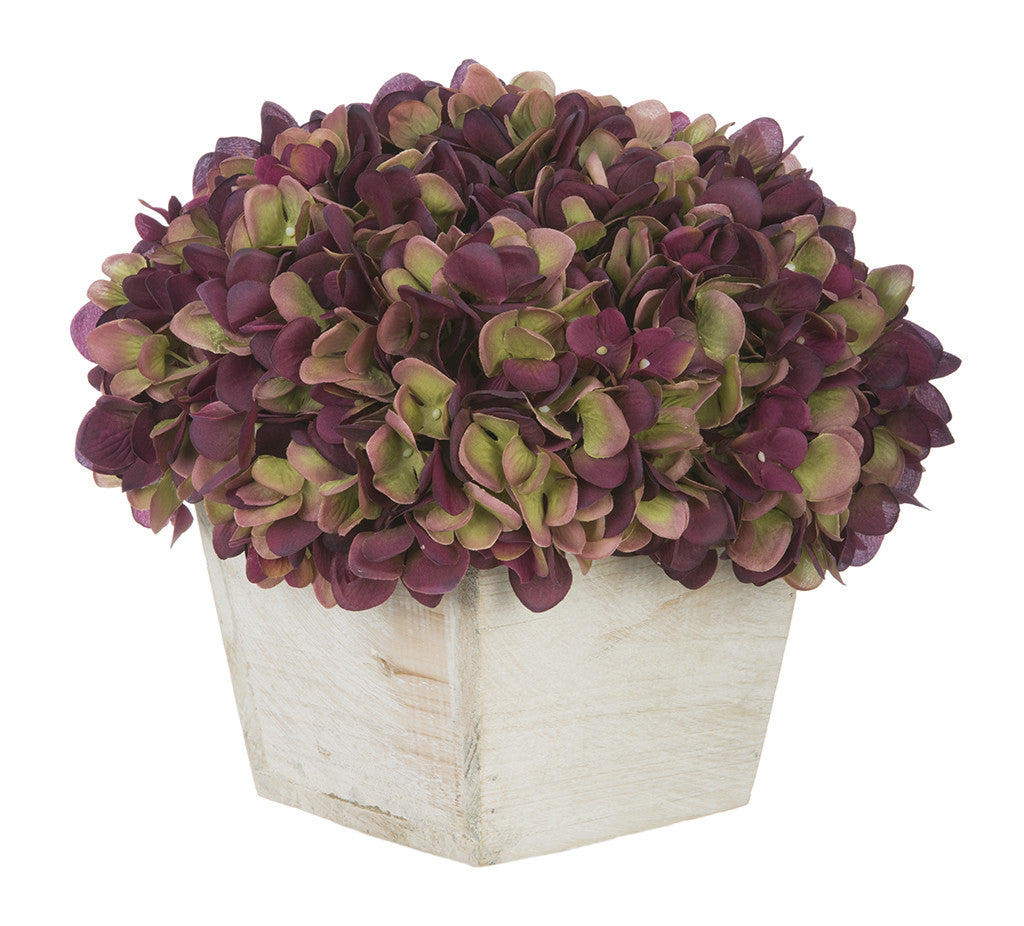 Artificial Hydrangea in White-Washed Wood Cube - House of Silk Flowers®  - 15