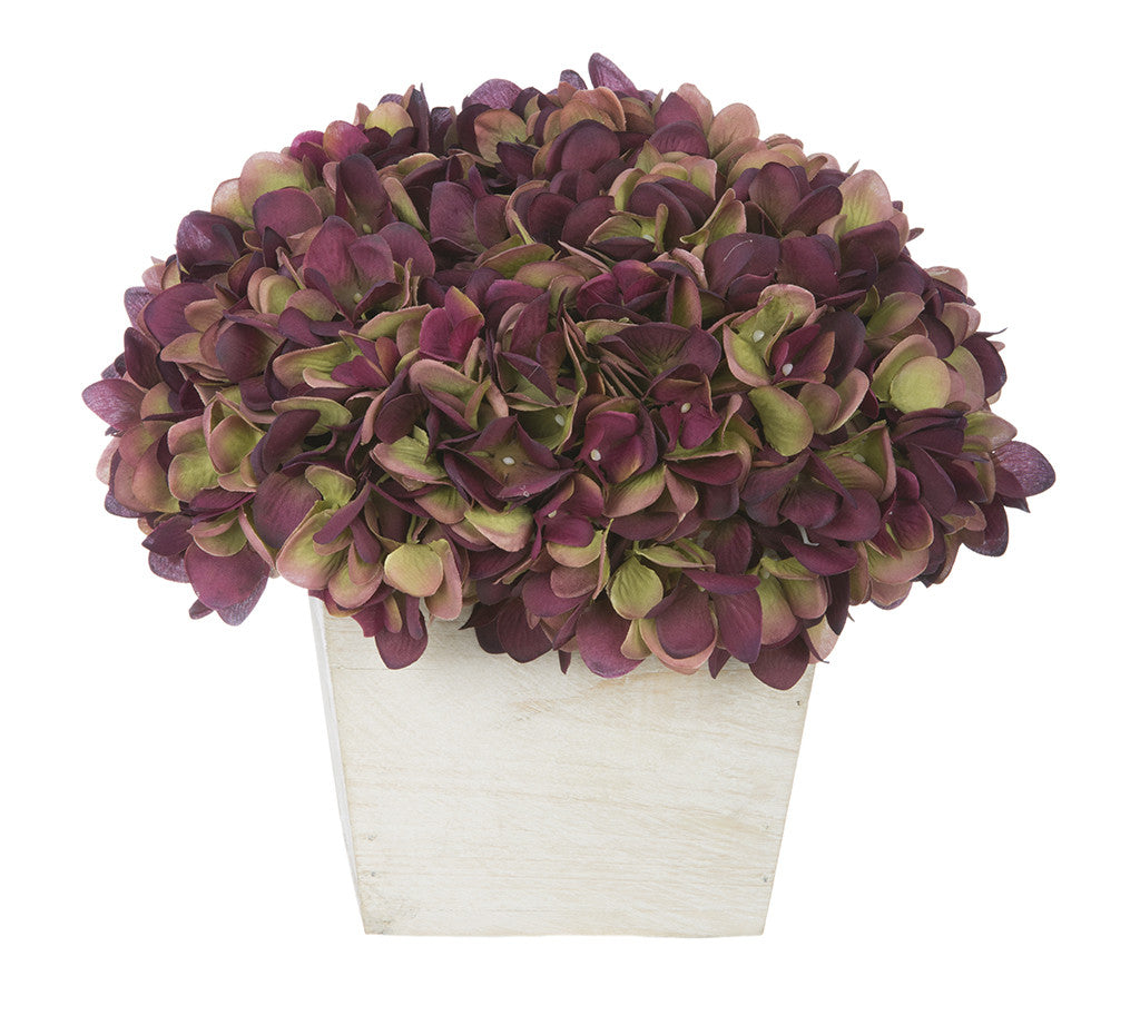 Artificial Hydrangea in White-Washed Wood Cube - House of Silk Flowers®  - 16