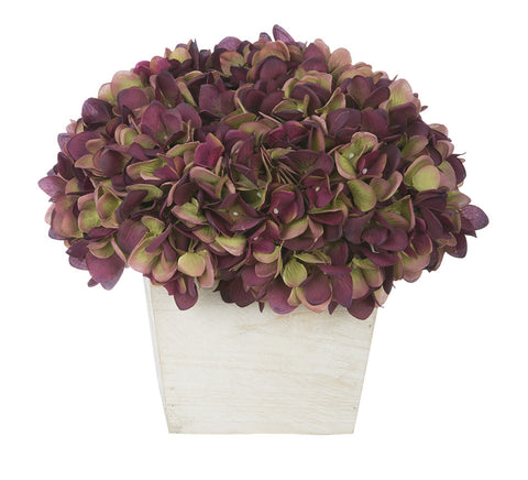 Artificial Hydrangea in White-Washed Wood Cube