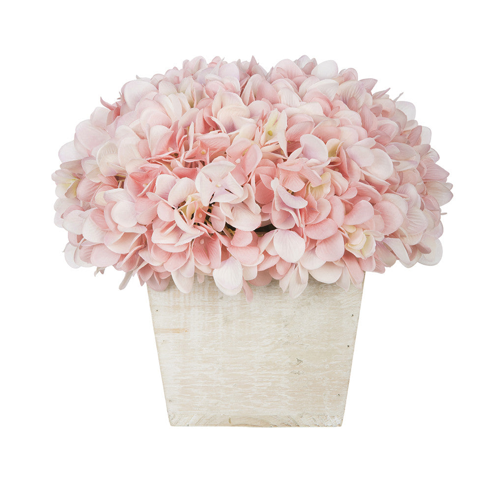 Artificial Hydrangea in White-Washed Wood Cube - House of Silk Flowers®  - 18