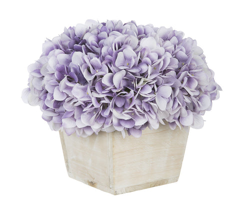 Artificial Hydrangea in White-Washed Wood Cube - House of Silk Flowers®  - 21