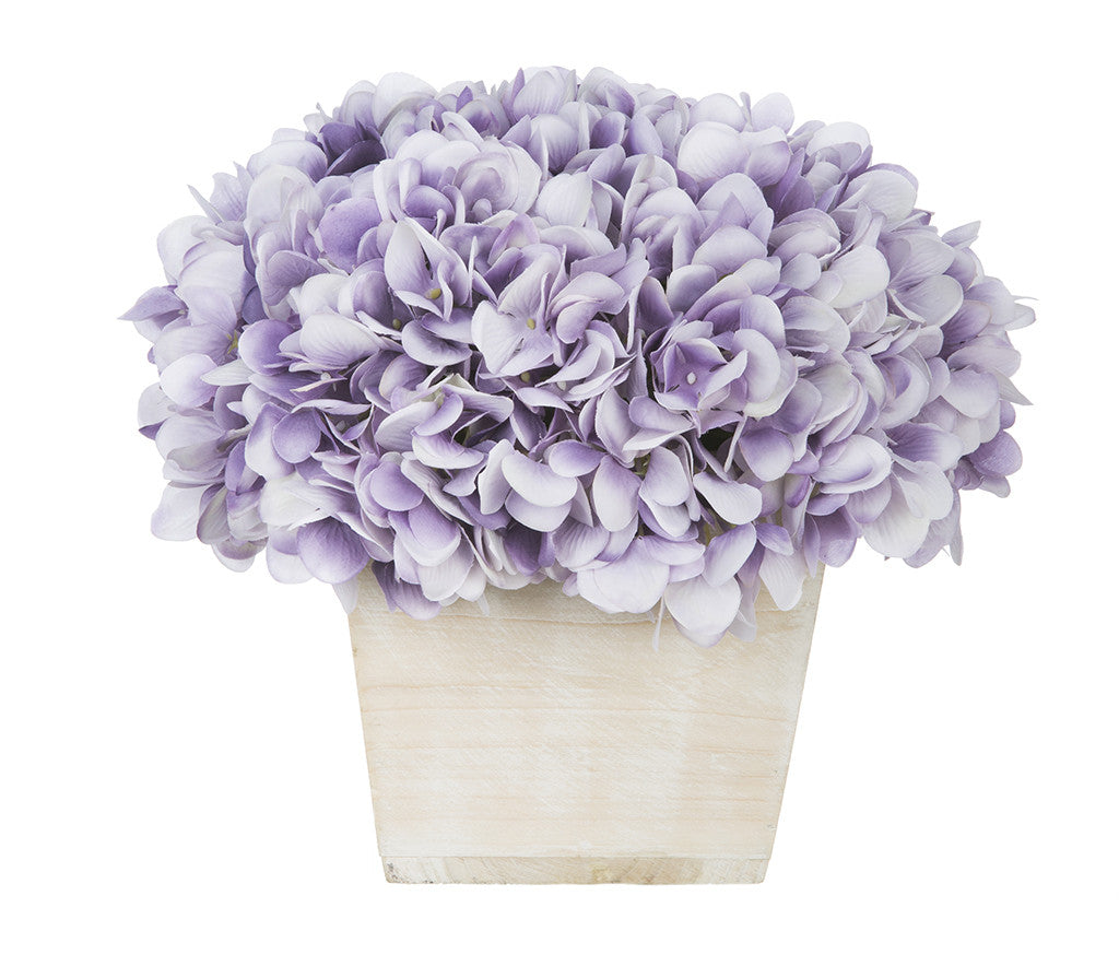 Artificial Hydrangea in White-Washed Wood Cube - House of Silk Flowers®  - 22