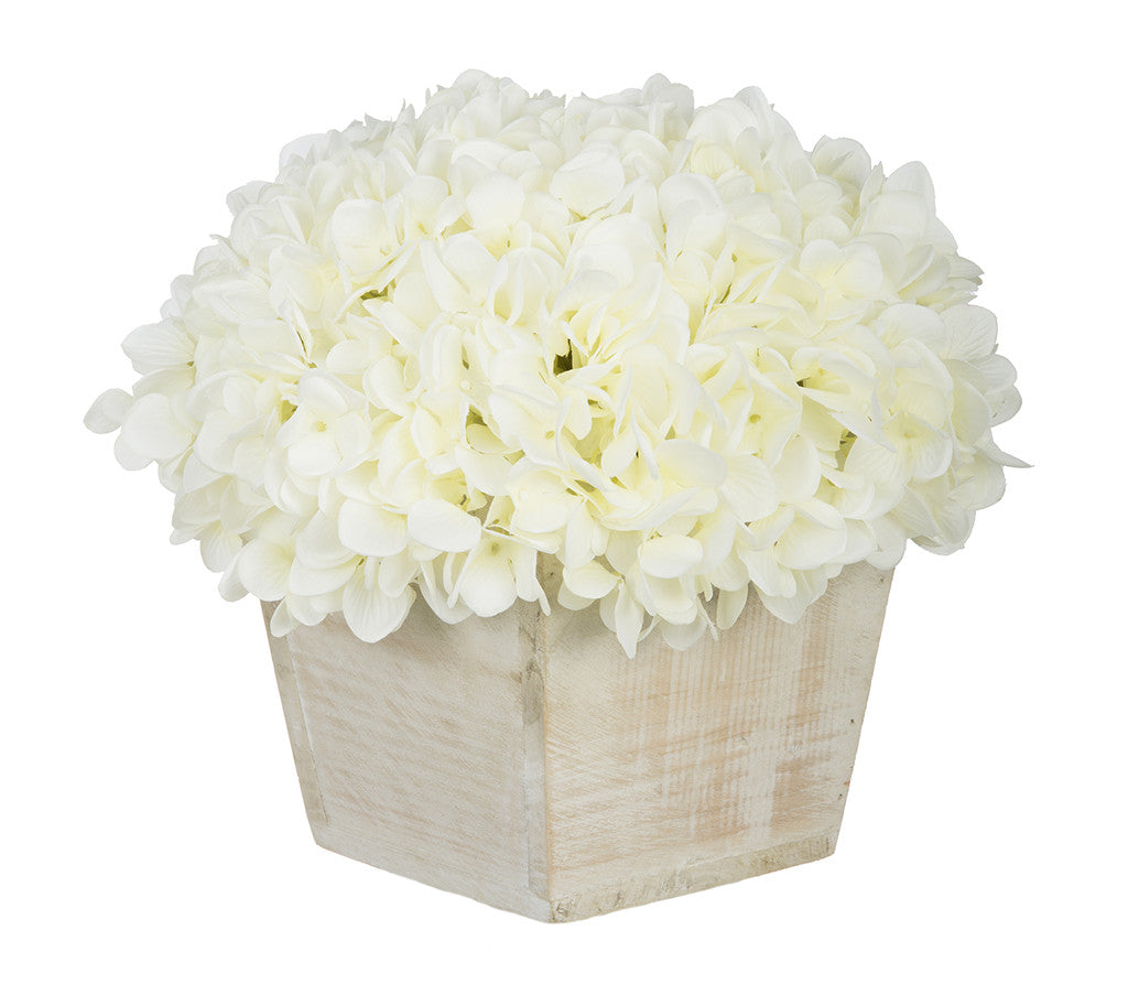Artificial Hydrangea in White-Washed Wood Cube - House of Silk Flowers®  - 1
