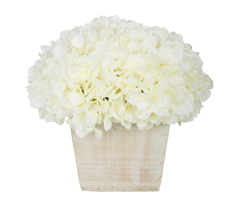 Artificial Hydrangea in White-Washed Wood Cube - House of Silk Flowers®  - 2