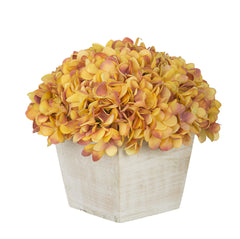 Artificial Hydrangea in White-Washed Wood Cube - House of Silk Flowers®  - 23