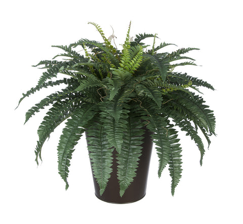 Artificial Fern in Round Zinc Planter - House of Silk Flowers®  - 4