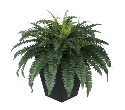 Artificial Fern in Square Zinc Planter - House of Silk Flowers®  - 2