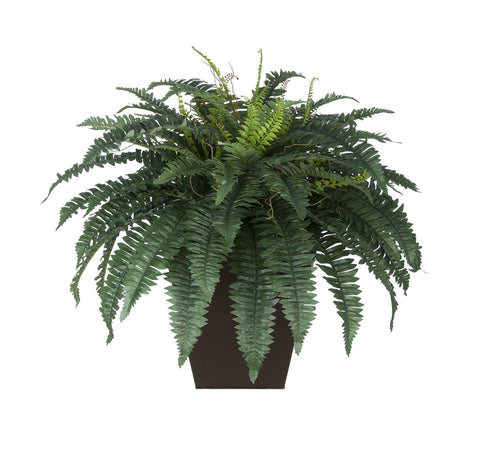 Artificial Fern in Square Zinc Planter - House of Silk Flowers®  - 1