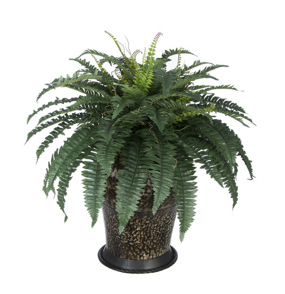 Artificial Fern in Metal Planter
