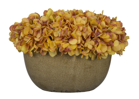 Artificial Hydrangea in Tan Crackle Vase - House of Silk Flowers®  - 23