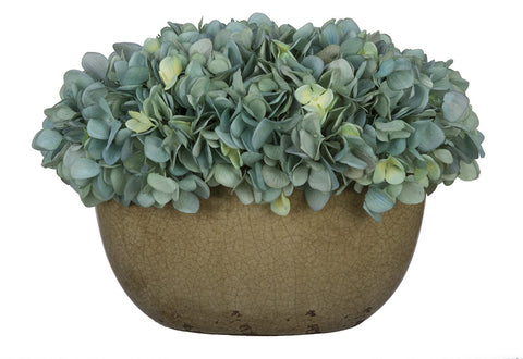 Artificial Hydrangea in Tan Crackle Vase - House of Silk Flowers®  - 5