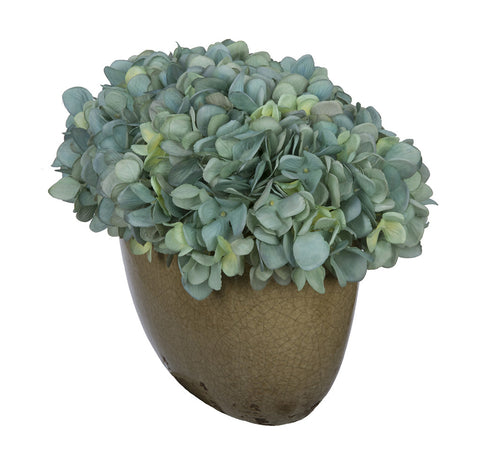 Artificial Hydrangea in Tan Crackle Vase - House of Silk Flowers®  - 6