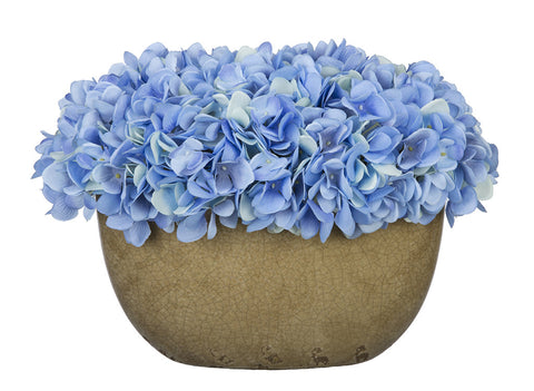 Artificial Hydrangea in Tan Crackle Vase - House of Silk Flowers®  - 7