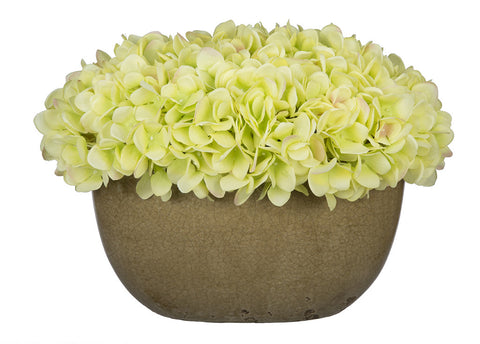 Artificial Hydrangea in Tan Crackle Vase - House of Silk Flowers®  - 9