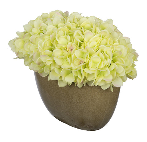 Artificial Hydrangea in Tan Crackle Vase - House of Silk Flowers®  - 10