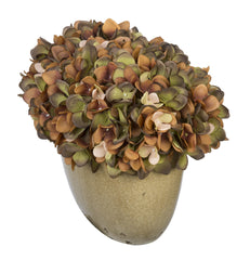 Artificial Hydrangea in Tan Crackle Vase - House of Silk Flowers®  - 12