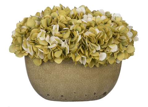 Artificial Hydrangea in Tan Crackle Vase - House of Silk Flowers®  - 13