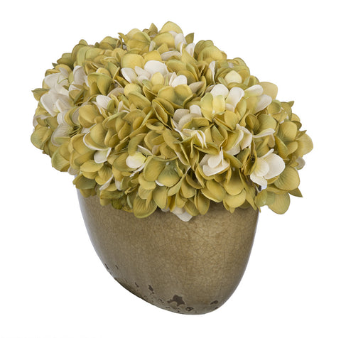 Artificial Hydrangea in Tan Crackle Vase - House of Silk Flowers®  - 14