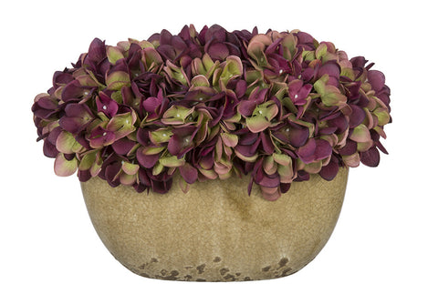 Artificial Hydrangea in Tan Crackle Vase - House of Silk Flowers®  - 15