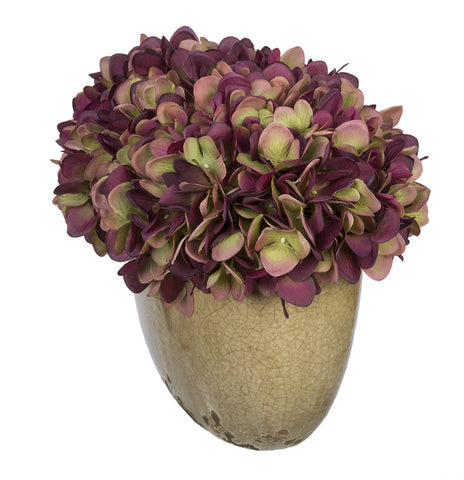 Artificial Hydrangea in Tan Crackle Vase - House of Silk Flowers®  - 16