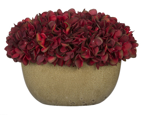 Artificial Hydrangea in Tan Crackle Vase - House of Silk Flowers®  - 17