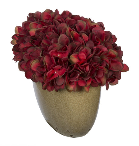 Artificial Hydrangea in Tan Crackle Vase - House of Silk Flowers®  - 18