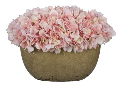 Artificial Hydrangea in Tan Crackle Vase - House of Silk Flowers®  - 19