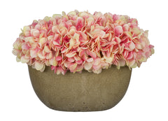 Artificial Hydrangea in Tan Crackle Vase - House of Silk Flowers®  - 1