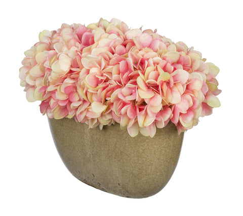 Artificial Hydrangea in Tan Crackle Vase