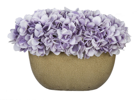 Artificial Hydrangea in Tan Crackle Vase - House of Silk Flowers®  - 21