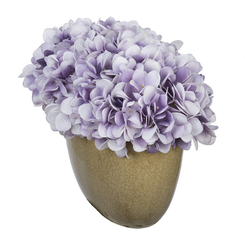 Artificial Hydrangea in Tan Crackle Vase - House of Silk Flowers®  - 22