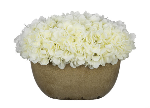 Artificial Hydrangea in Tan Crackle Vase - House of Silk Flowers®  - 3