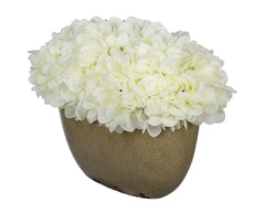 Artificial Hydrangea in Tan Crackle Vase - House of Silk Flowers®  - 4