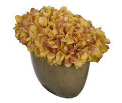 Artificial Hydrangea in Tan Crackle Vase - House of Silk Flowers®  - 24