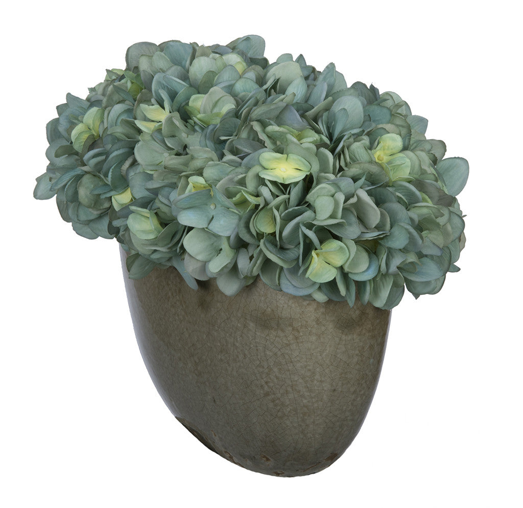Artificial Hydrangea in Grey Crackle Vase - House of Silk Flowers®  - 6