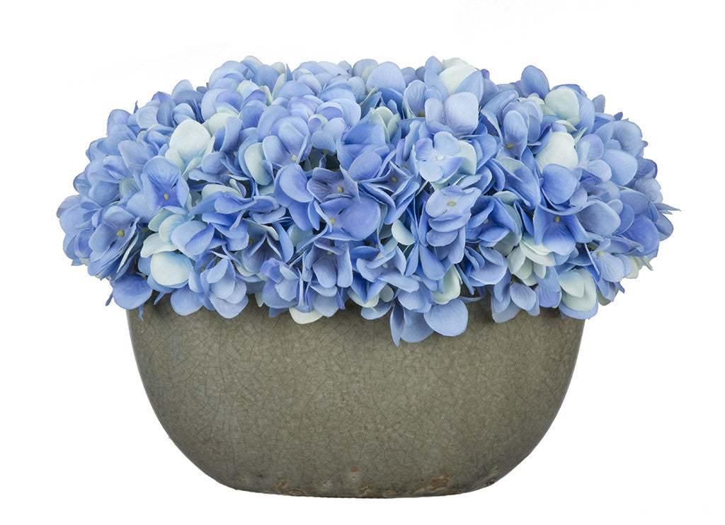 Artificial Hydrangea in Grey Crackle Vase - House of Silk Flowers®  - 7