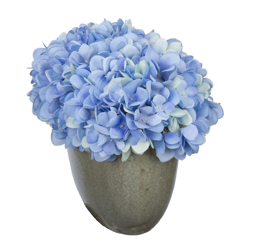 Artificial Hydrangea in Grey Crackle Vase - House of Silk Flowers®  - 8