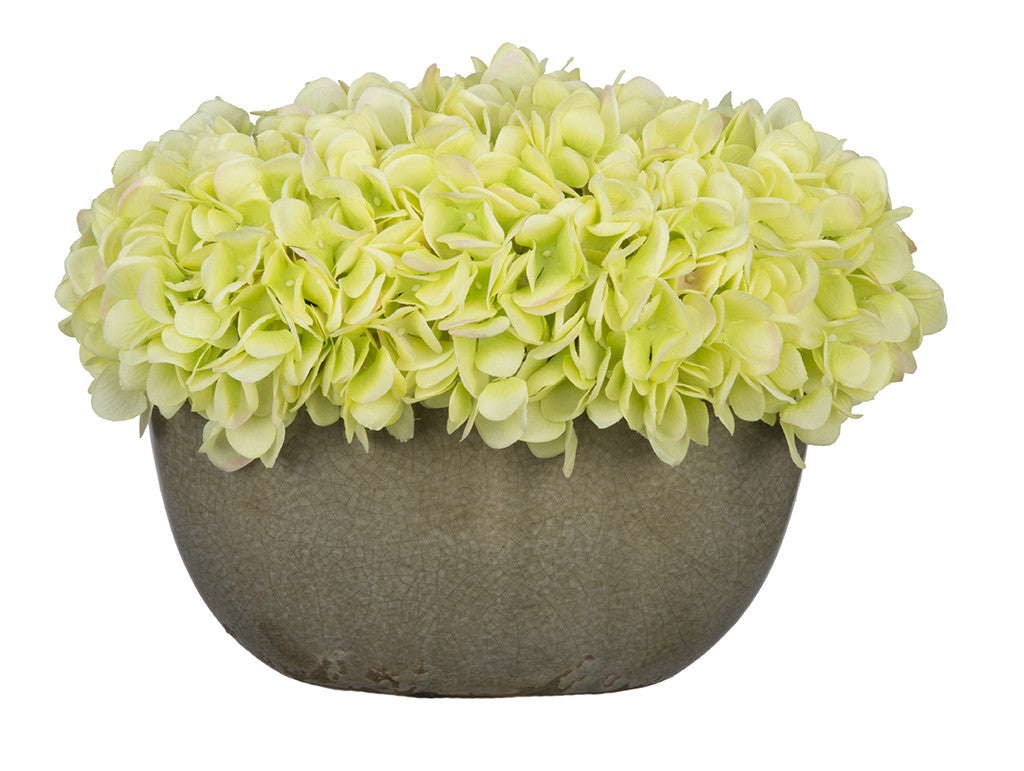 Artificial Hydrangea in Grey Crackle Vase - House of Silk Flowers®  - 9