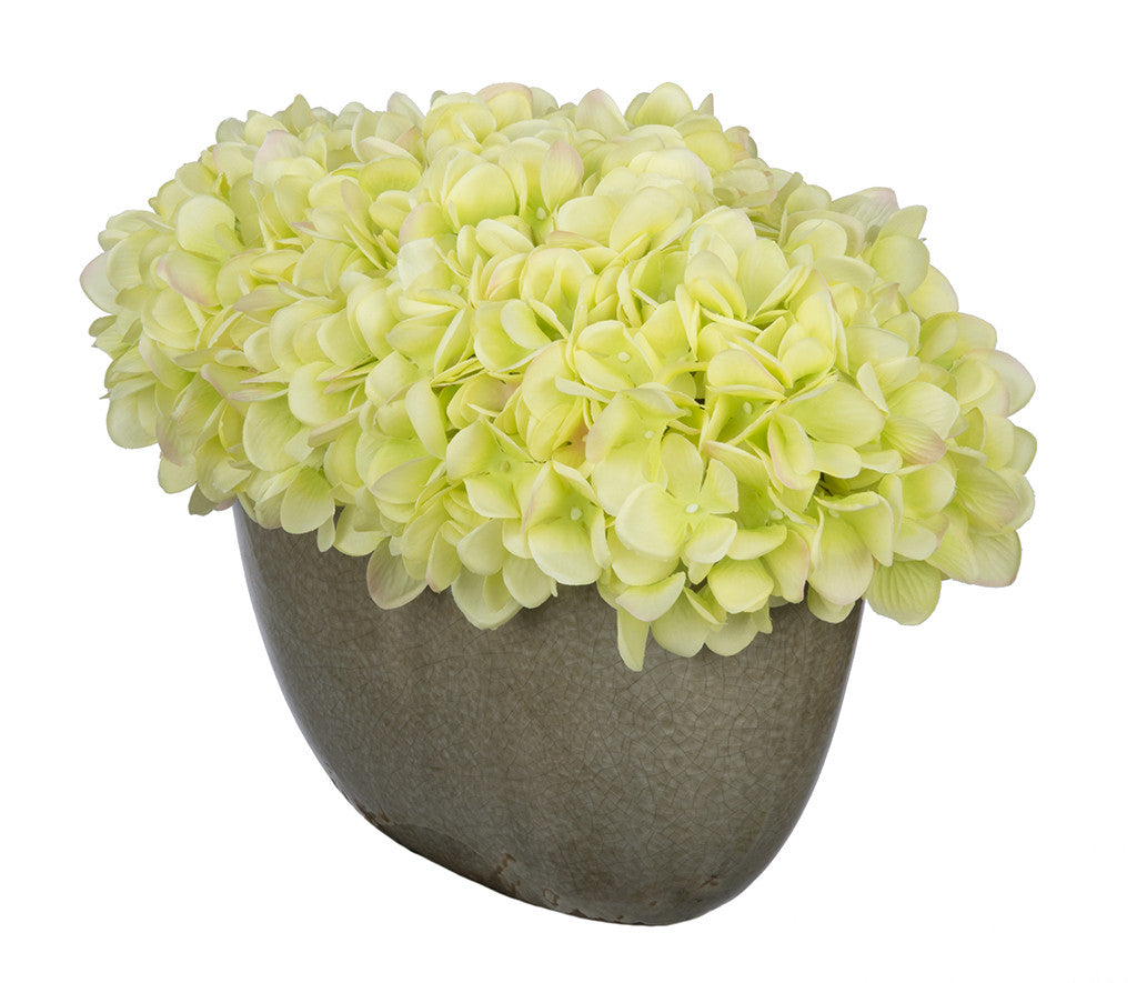 Artificial Hydrangea in Grey Crackle Vase - House of Silk Flowers®  - 10