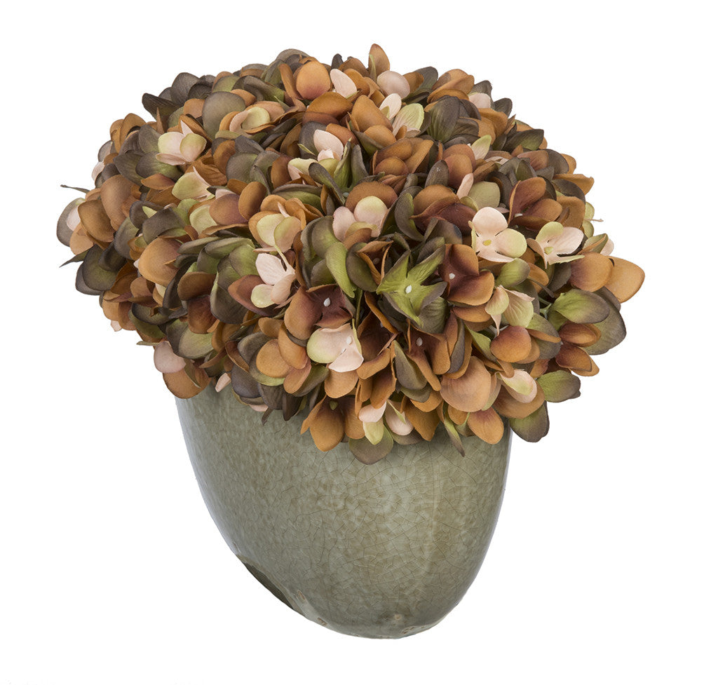 Artificial Hydrangea in Grey Crackle Vase - House of Silk Flowers®  - 12